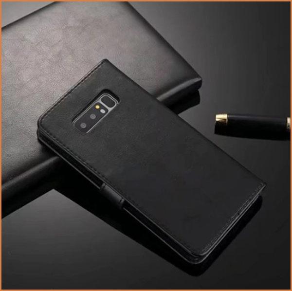 簡約瘋馬紋 三星 Galaxy Note 8 手機皮套 側翻 支架 插卡 N950F 保護套 錢包 三星 note8 手機殼 保護殼