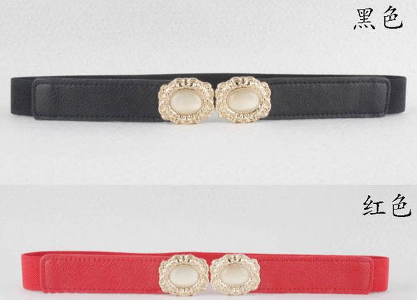 ★草魚妹★H454皮帶甜美金色寶石對扣彈力鬆緊細腰帶皮帶,售價138元