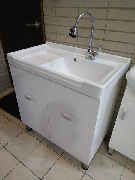 洗衣槽+浴櫃(收納)+水龍頭+所有配件 二用大槽面 寬80*深48*高83cm 防水PVC發泡板 品質超優外銷日本