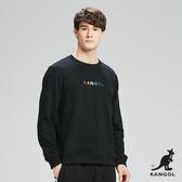 KANGOL-彩色LOGO印花圓領上衣/大學T-男-黑