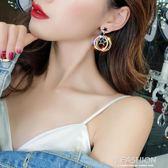 925銀針會動的星星耳環多層閃鉆金屬圓圈耳釘韓國氣質耳墜耳飾品-ifashion