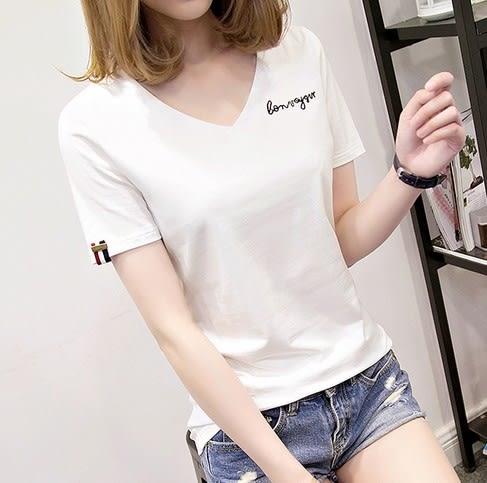 EASON SHOP(GU5046)寬鬆V領刺繡字母條紋織帶圓領短袖T恤內搭衫女上衣服素色白棉T春夏裝韓版彈力貼身