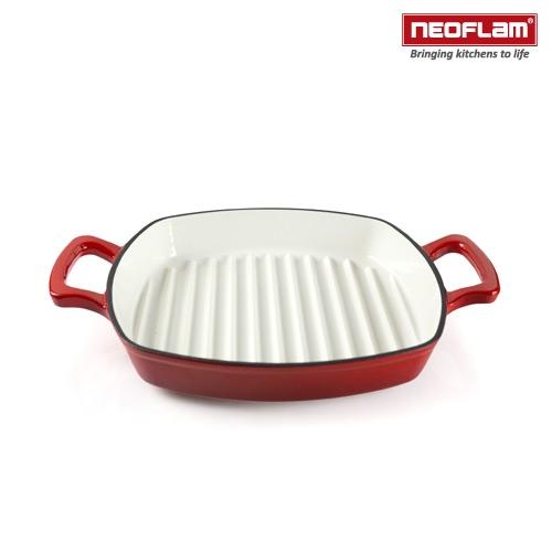 【南紡購物中心】韓國NEOFLAM 28cm厚釡琺瑯鑄鐵牛排煎鍋 NF-CI-G28