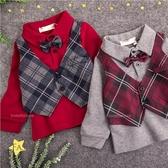 小紳士菱格紋背心領帶假2件長袖上衣-2色(300345)【水娃娃時尚童裝】