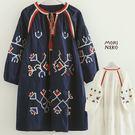 波西米亞民族刺繡。流蘇綁帶洋裝【73189238】