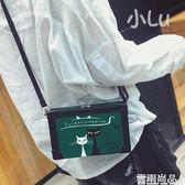 盒子包女新款百搭韓版卡通貓咪圖案包包斜背包小包單肩包學生 一件免運