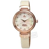 Vivienne Westwood / VV128RSWH / Hampton 浪漫圓舞曲 珍珠母貝 晶鑽刻度 真皮手錶 白X玫瑰金 32mm