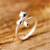 925銀戒指女正韓時尚可愛小貓咪戒指指環光面開口戒指 全館免運88折