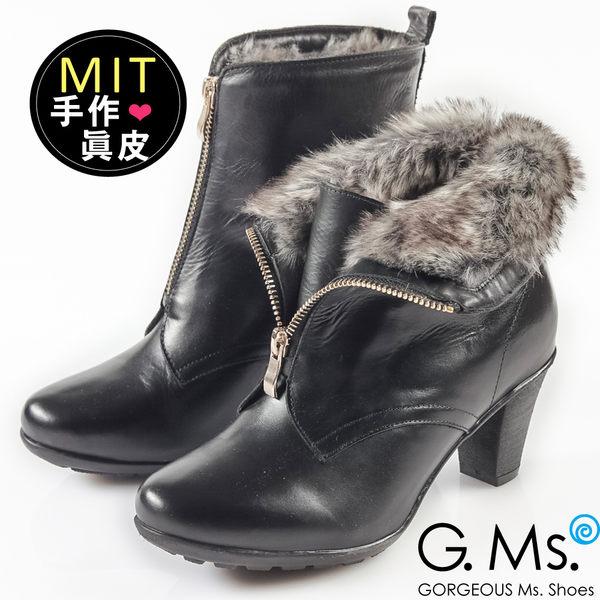 G.Ms. MIT系列-2WAY翻領仿皮草拉鍊粗跟短靴*黑色