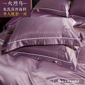 歐式繡花純色真絲枕套一對裝 單人絲綢冰絲純棉枕頭套48x74cm『韓女王』