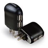【貓頭鷹3C】aibo AC 電源轉 USB 2PORT 充電器 - 3100mA 黑色