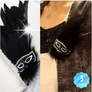 【威尼斯面具嘉年華】變裝舞會羽毛咖啡色面具胸針(單入)-三色 [40833]