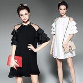 中大尺碼洋裝 荷葉邊露肩釘珠網紗拼接連身裙 2色 L-5XL #bl5222 ❤卡樂store❤