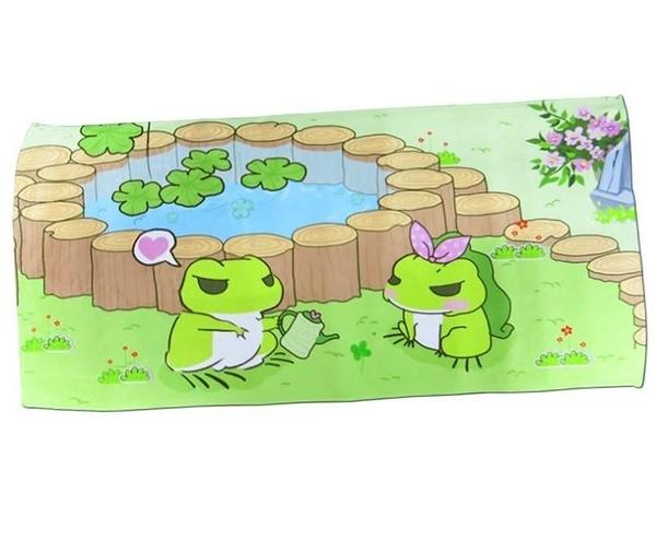 【SG202】青蛙浴巾 75X154cm 創意定制熱轉印花旅行青蛙周邊毛巾沙灘方巾面巾浴巾情侶生日禮物