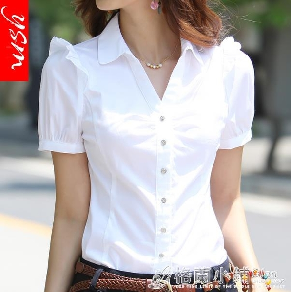 韓版棉新白襯衫女短袖職業裝工作服正裝工裝大碼半袖襯衣女裝ol 格蘭小舖 全館5折起