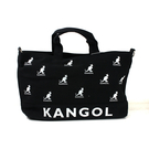 KANGOL 帆布側背袋 大容量 黑色 滿版印花 6025300620 noA61