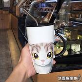 馬克杯 可愛萌貓陶瓷杯卡通馬克杯創意大容量水杯子牛奶杯情侶咖啡杯