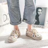 帆布鞋女秋冬新款ins少女原宿ulzzang板鞋韓版百搭潮鞋草莓小白鞋 「爆米花」