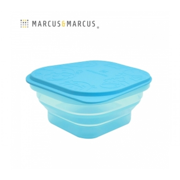 《 MARCUS&MARCUS 》果凍矽膠摺疊保存盒-藍 / JOYBUS玩具百貨