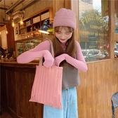 純色褶皺包包環保購物袋百搭單肩手提包上課帆布包【繁星小鎮】