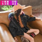 女童 牛仔外套 短版夾克正韓中大童加絨加厚冬裝羊羔絨 小精靈