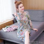 旗袍連身裙復古印花民族風女裝中長款潮時尚
