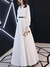 晚宴禮服 白色晚禮服時尚氣質女王宴會高貴優雅長款高端簡單連衣裙