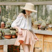 白色蕾絲上衣女一字肩超仙甜美雪紡衫