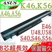 ASUS電池(保固最久/8芯)-華碩 K46,K56電池,A46,A56,U48,U58,E46,V550,A31-K56,A32-K56,A41-K56,A42-K56
