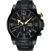 ALBA 雅柏 ACTIVER 系列活力運動計時手錶-鍍黑/44mm VD57-X089SD(AM3399X1)