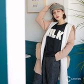 CANTWO雙層連帽毛毛口袋針織罩衫-共三色