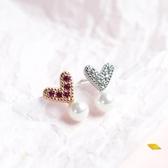 s925純銀發芽愛心耳釘韓國INS氣質女款防過敏珍珠萌芽耳環銀飾品