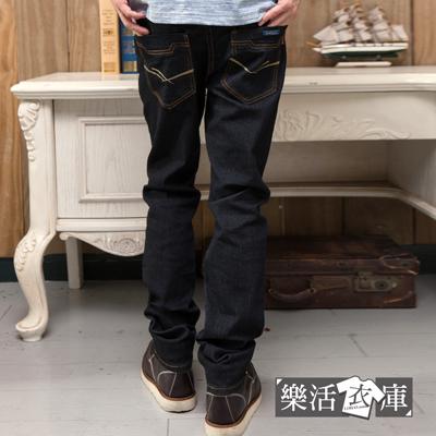 【7265】簡約雙線原色伸縮小直筒牛仔褲(黑色)● 樂活衣庫