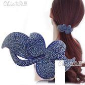 髮飾 髪夾韓國頭飾優雅髪飾大號橫夾水鑽彈簧夾頂夾髪卡夾子「Chic七色堇」