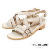 Tino Bellini 質感真皮條帶交叉坡跟涼鞋 _ 米白 B83271