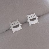 925純銀耳環(耳針式)-生日情人節禮物可愛四眼怪精選女耳飾73ag35【巴黎精品】