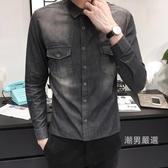 春秋季牛仔襯衫外套男日系復古修身長袖大碼薄版襯衣潮男士牛仔衣
