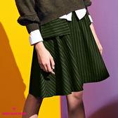【SHOWCASE】學院風條紋方袋膝上圓裙(綠)