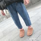 加絨加厚童裝長褲女童洋氣褲子兒童寬鬆牛仔褲中小童裝 歐韓時代