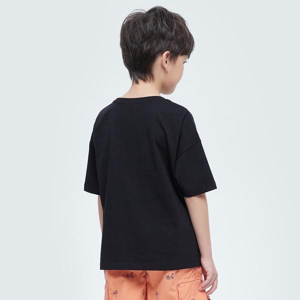 Gap男童 Logo純棉圓領短袖T恤 979502-黑色