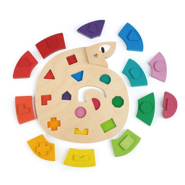 【美國Tender Leaf Toys】樂樂蛇彩虹拼圖(色彩幾何積木拼圖)