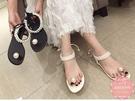 平底涼鞋 珍珠點綴後蝴蝶結綁帶 平底鞋*Kwoomi-A51