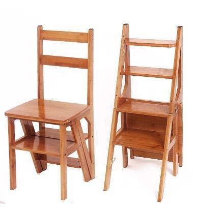 實木家用多功能折疊梯架創意樓梯椅梯凳室內多用單只價【加強款四層《楠竹板》原色】