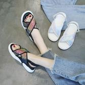 運動涼鞋新款百搭韓版平底兩穿港味厚底鞋子 JD5722【KIKIKOKO】