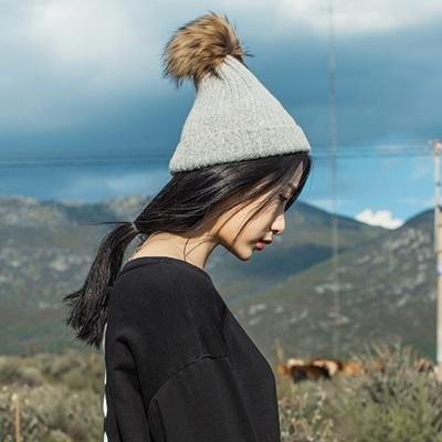 毛帽-貉子毛毛球休閒保暖男女針織帽5色73ug50[巴黎精品]