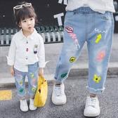 女童牛仔褲1歲3寶寶洋氣薄款外褲秋裝兒童春秋寬松褲子外穿韓版潮 美眉新品