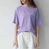 短袖T恤-圓領純色簡約字母刺繡女上衣3色73sy20【巴黎精品】