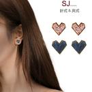 素簡手作《T015》韓國耳環愛心不對稱耳環夾式耳環磁鐵耳環