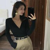 秋季新款韓版純色修身顯瘦v領長袖針織衫女裝休閒上衣修身打底衫