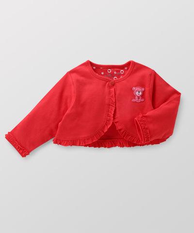 Hallmark Babies 甜心小熊長絨棉短版女嬰長袖開衫外套 HD1-B02-08-BG-PR